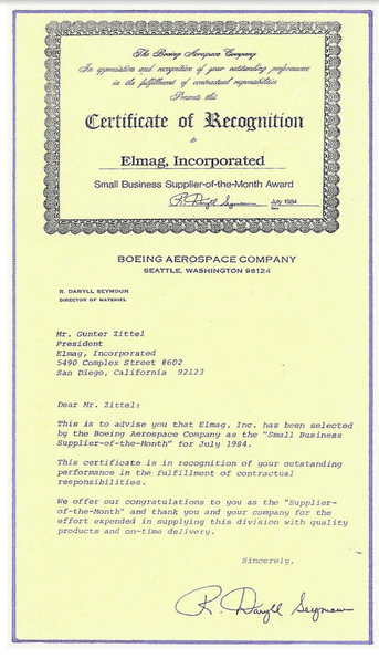 Boeing Certificate of Recognition